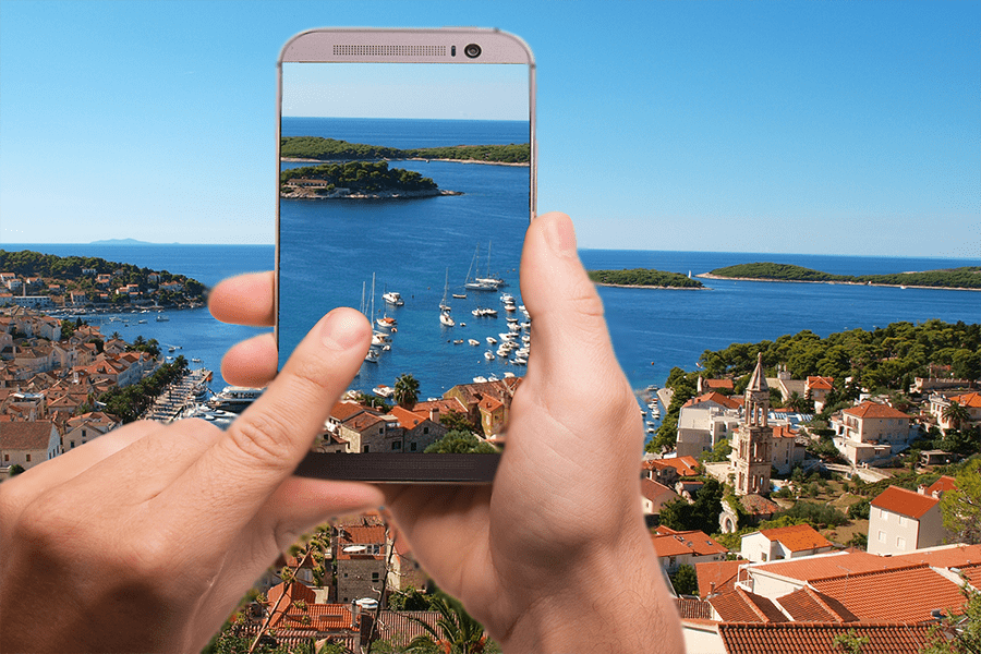 Hvar island on mobile